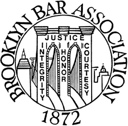 mark for BROOKLYN BAR ASSOCIATION 1872 JUSTICE INTEGRITY HONOR COURTESY, trademark #85754741