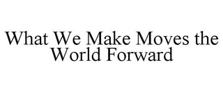 mark for WHAT WE MAKE MOVES THE WORLD FORWARD, trademark #85758792