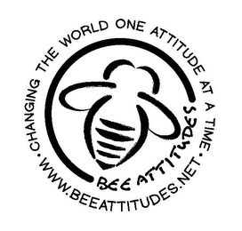 mark for BEE ATTITUDES · CHANGING THE WORLD ONE ATTITUDE AT A TIME · WWW.BEEATTITUDES.NET, trademark #85759779