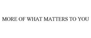 mark for MORE OF WHAT MATTERS TO YOU, trademark #85761407