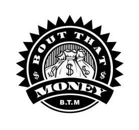 mark for BOUT THAT MONEY B.T.M, trademark #85763680