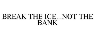 mark for BREAK THE ICE...NOT THE BANK, trademark #85766385