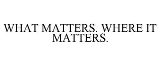 mark for WHAT MATTERS. WHERE IT MATTERS., trademark #85766701