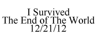 mark for I SURVIVED THE END OF THE WORLD 12/21/12, trademark #85771036