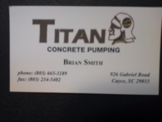 mark for TITAN CONCRETE PUMPING BRIAN SMITH PHONE: (303) 665-3189 FAX: (303) 234-5402 926 GABRIEL ROAD CAYCE, SC 29033, trademark #85779412