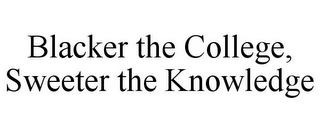mark for BLACKER THE COLLEGE, SWEETER THE KNOWLEDGE, trademark #85788661