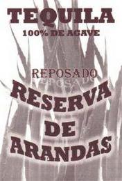 mark for TEQUILA 100% DE AGAVE REPOSADO RESERVA DE ARANDAS, trademark #85791391