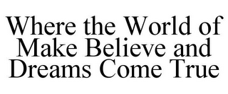 mark for WHERE THE WORLD OF MAKE BELIEVE AND DREAMS COME TRUE, trademark #85791722