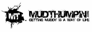 mark for MT MUDTHUMPIN.COM GETTING MUDDY IS A WAY OF LIFE, trademark #85796755