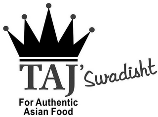 mark for TAJ' SWADISHT FOR AUTHENTIC ASIAN FOOD, trademark #85800391