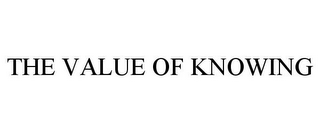 mark for THE VALUE OF KNOWING, trademark #85805068