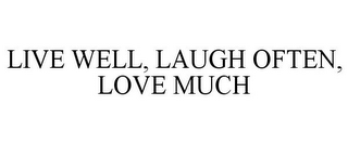 mark for LIVE WELL, LAUGH OFTEN, LOVE MUCH, trademark #85810318
