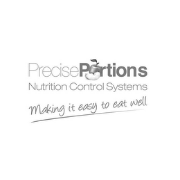 mark for PRECISE PORTIONS NUTRITION CONTROL SYSTEMS MAKING IT EASY TO EAT WELL, trademark #85822683