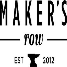 mark for MAKER'S ROW EST 2012, trademark #85823596