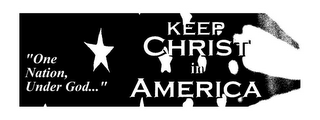 "mark for ""ONE NATION, UNDER GOD..."" KEEP CHRIST IN AMERICA, trademark #85828002"