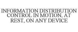 mark for INFORMATION DISTRIBUTION CONTROL IN MOTION, AT REST, ON ANY DEVICE, trademark #85854252