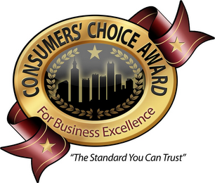 "mark for CONSUMERS' CHOICE AWARD FOR BUSINESS EXCELLENCE ""THE STANDARD YOU CAN TRUST"", trademark #85854288"