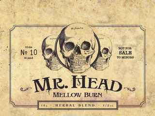 mark for MR. HEAD MELLOW BURN OLDE NO. 10 BLEND NOT FOR SALE TO MINORS 14G - HERBAL BLEND - 1/2OZ. OS FRONTIS OS MALA. MAXILLA SUPERIOR. MAXILLA INFERIOR, trademark #85855219