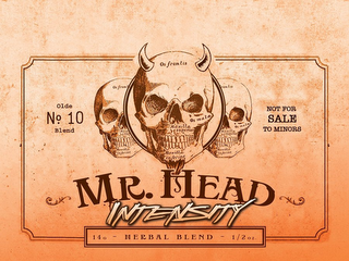 mark for MR. HEAD INTENSITY OLDE NO. 10 BLEND NOT FOR SALE TO MINORS 14G - HERBAL BLEND - 1/2 OZ. OS FRONTIS OS MALA. MAXILLA SUPERIOR. MAXILLA INFERIOR., trademark #85855259