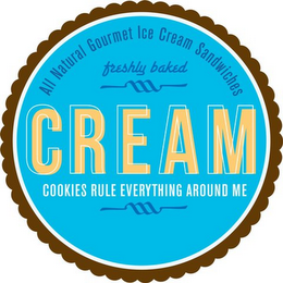 mark for CREAM ALL NATURAL GOURMET ICE CREAM SANDWICHES FRESHLY BAKED COOKIES RULE EVERYTHING AROUND ME, trademark #85858105