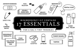 mark for MINIMERGENCY KIT CONTAINS 17 ESSENTIALS FOR A GAL'S TINY TROUBLES ADHESIVE BANDAGE PAIN RELIEVER DOUBLE-SIDED TAPE BREATH FRESHENER MENDING KIT DENTAL FLOSS CLEAR NAIL POLISH HAIR SPRAY EMERY BOARD TAMPON LIP BALM CLEAR ELASTICS DEODORANT TOWELETTE NAIL POLISH REMOVER PAD STAIN REMOVER EARRING BACKS SAFETY PIN, trademark #85862552