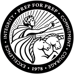 mark for · PREP FOR PREP · EXCELLENCE · INTEGRITY · COMMITMENT · COURAGE · 1978, trademark #85864032