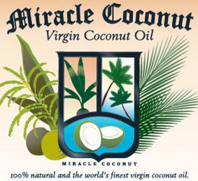 mark for MIRACLE COCONUT VIRGIN COCONUT OIL MIRACLE COCONUT 100% NATURAL AND WORLD'S FINEST VIRGIN COCONUT OIL., trademark #85864457
