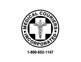 mark for MEDICAL COURIERS ·INCORPORATED · 1-800-652-1147, trademark #85864902
