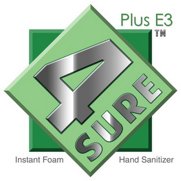 mark for 4SURE PLUS E3INSTANT FOAM HAND SANITIZER, trademark #85865889