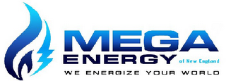 mark for MEGA ENERGY OF NEW ENGLAND WE ENERGIZE YOUR WORLD, trademark #85866027