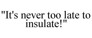 "mark for ""IT'S NEVER TOO LATE TO INSULATE!"", trademark #85866908"