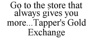 mark for GO TO THE STORE THAT ALWAYS GIVES YOU MORE...TAPPER'S GOLD EXCHANGE, trademark #85866963