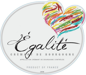 mark for ÉGALITE CRÉMANT DE BOURGEOGNE APPELLATION CRÉMANT DE BOURGOGNE CONTROLEÉ PRODUCT OF FRANCE 23698, trademark #85867074