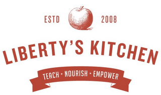 mark for LIBERTY'S KITCHEN ESTD 2008 TEACH · NOURISH EMPOWER, trademark #85874248