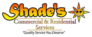 "mark for SHADE'S COMMERCIAL & RESIDENTIAL SERVICES ""QUALITY SERVICE YOU DESERVE"", trademark #85879339"