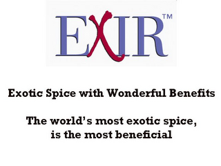 mark for EXIR EXOTIC SPICE WITH WONDERFUL BENEFITS THE WORLD'S MOST EXOTIC SPICE, IS THE MOST BENEFICIAL, trademark #85879370