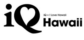 mark for IQ HAWAII, IQ + I LOVE HAWAII, trademark #85880109