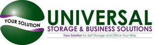 mark for YOUR SOLUTION UNIVERSAL STORAGE & BUSINESS SOLUTIONS YOUR SOLUTION FOR SELF STORAGE AND OFFICE YOUR WAY, trademark #85880427