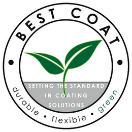 mark for · BEST COAT · SETTING THE STANDARD IN COATING SOLUTIONS DURABLE · FLEXIBLE · GREEN, trademark #85883495