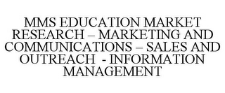mark for MMS EDUCATION MARKET RESEARCH - MARKETING AND COMMUNICATIONS - SALES AND OUTREACH - INFORMATION MANAGEMENT, trademark #85886406
