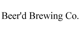 mark for BEER'D BREWING CO., trademark #85890185