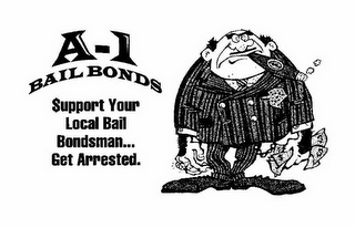 mark for A-1 BAIL BONDS $UPPORT YOUR LOCAL BAIL BONDSMAN... GET ARRESTED., trademark #85897076