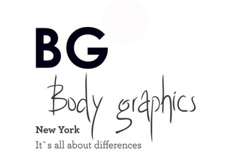 mark for BG BODY GRAPHICS NEW YORK IT'S ALL ABOUT DIFFERENCE, trademark #85908675