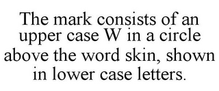 mark for THE MARK CONSISTS OF AN UPPER CASE W IN A CIRCLE ABOVE THE WORD SKIN, SHOWN IN LOWER CASE LETTERS., trademark #85913477