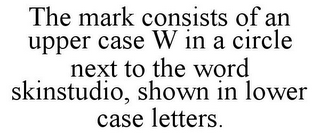 mark for THE MARK CONSISTS OF AN UPPER CASE W IN A CIRCLE NEXT TO THE WORD SKINSTUDIO, SHOWN IN LOWER CASE LETTERS., trademark #85913519