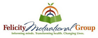 mark for FELICITY MOTIVATIONAL GROUP INFORMING MINDS. TRANSFORMING HEALTH. CHANGING LIVES., trademark #85914323