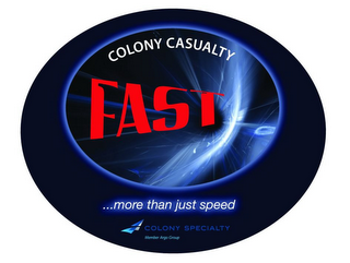 mark for COLONY CASUALTY FAST ... MORE THAN JUST SPEED COLONY SPECIALTY MEMBER ARGO GROUP, trademark #85918064