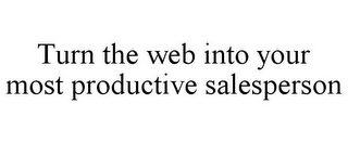 mark for TURN THE WEB INTO YOUR MOST PRODUCTIVE SALESPERSON, trademark #85921037