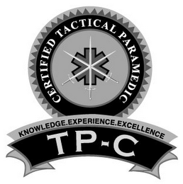 mark for CERTIFIED TACTICAL PARAMEDIC KNOWLEDGE.EXPERIENCE. EXCELLENCE TP-C, trademark #85930376