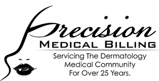 mark for PRECISION MEDICAL BILLING SERVICING THE DERMATOLOGY MEDICAL COMMUNITY FOR OVER 25 YEARS., trademark #85933668